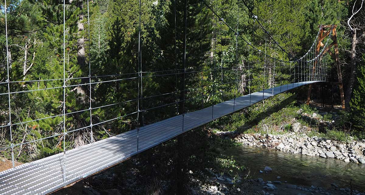 Suspension bridge over Woods Creek